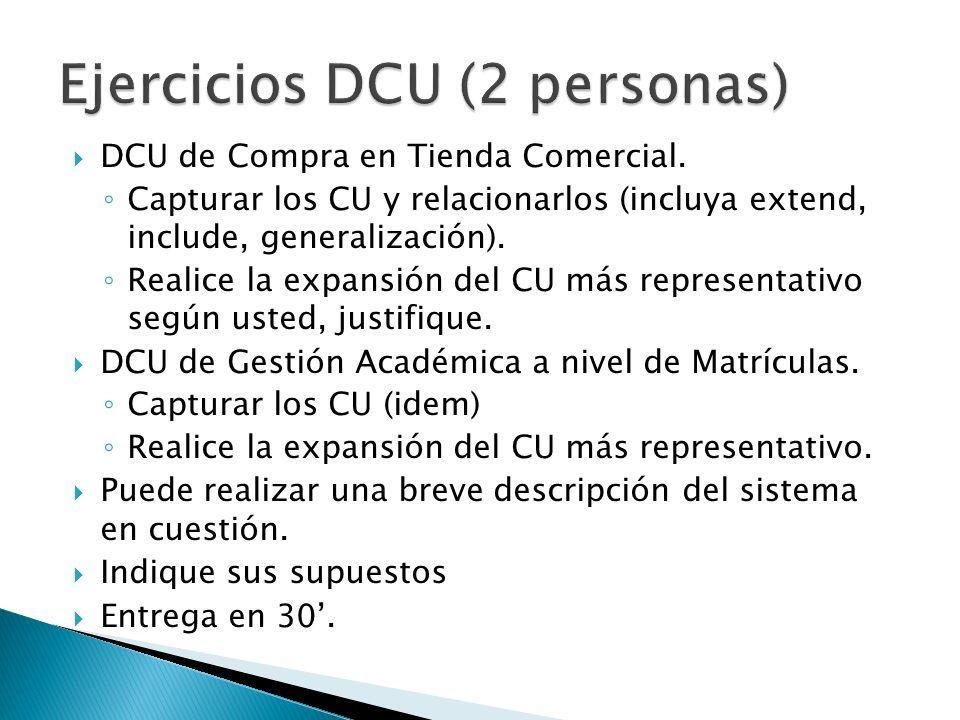 DCU de Compra en Tienda Comercial. Capturar los CU y relacionarlos (incluya extend, include, generalización). Realice la expansión del CU más represen