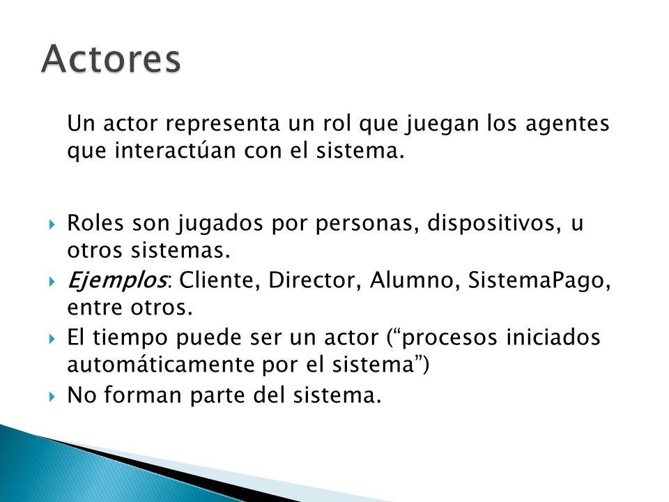 Un actor representa un rol que juegan los agentes que interactúan con el sistema. Roles son jugados por personas, dispositivos, u otros sistemas. Ejem