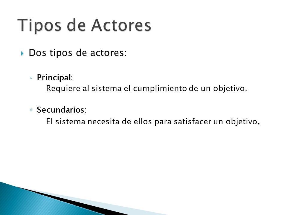 Dos tipos de actores: Principal: Requiere al sistema el cumplimiento de un objetivo. Secundarios: El sistema necesita de ellos para satisfacer un obje