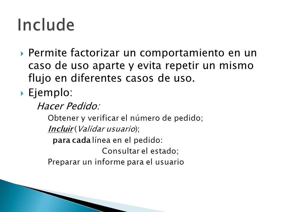 Permite factorizar un comportamiento en un caso de uso aparte y evita repetir un mismo flujo en diferentes casos de uso. Ejemplo: Hacer Pedido: Obtene