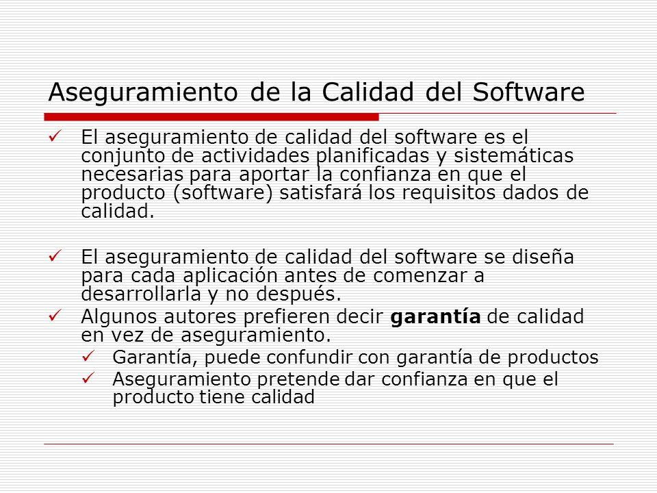 Aseguramiento de la Calidad del Software El aseguramiento de calidad del software es el conjunto de actividades planificadas y sistemáticas necesarias