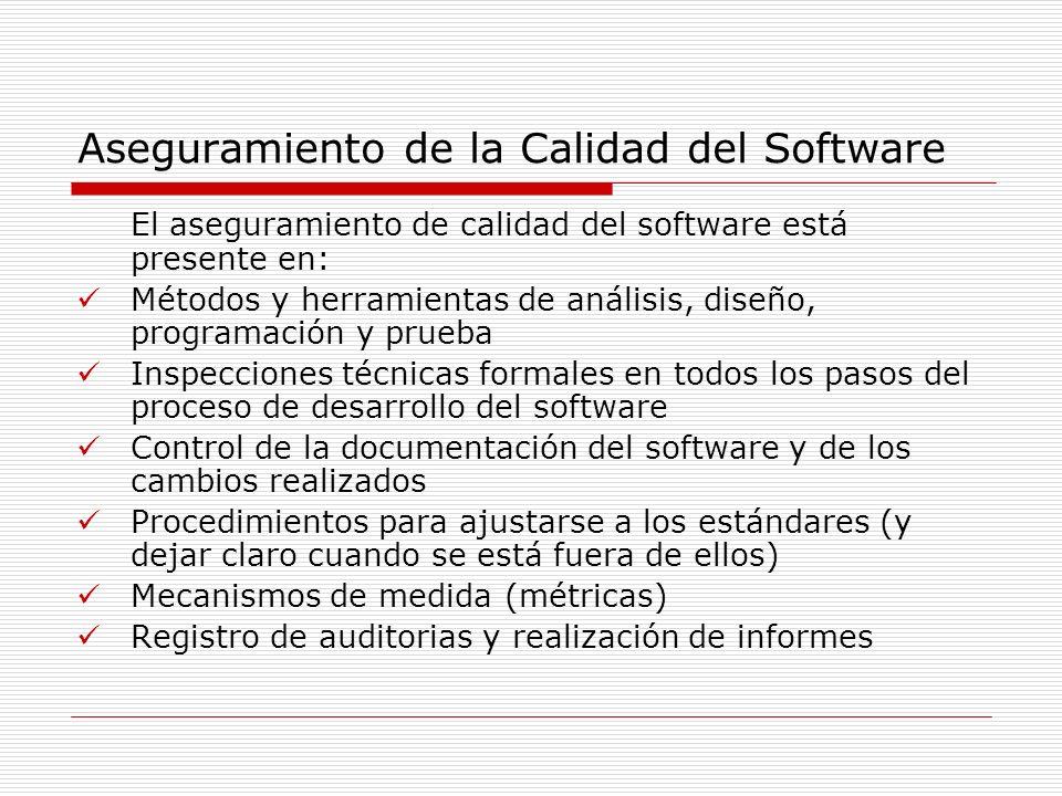 Aseguramiento de la Calidad del Software El aseguramiento de calidad del software está presente en: Métodos y herramientas de análisis, diseño, progra