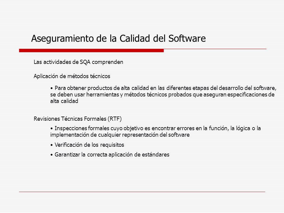 Aseguramiento de la Calidad del Software Las actividades de SQA comprenden Aplicación de métodos técnicos Para obtener productos de alta calidad en la