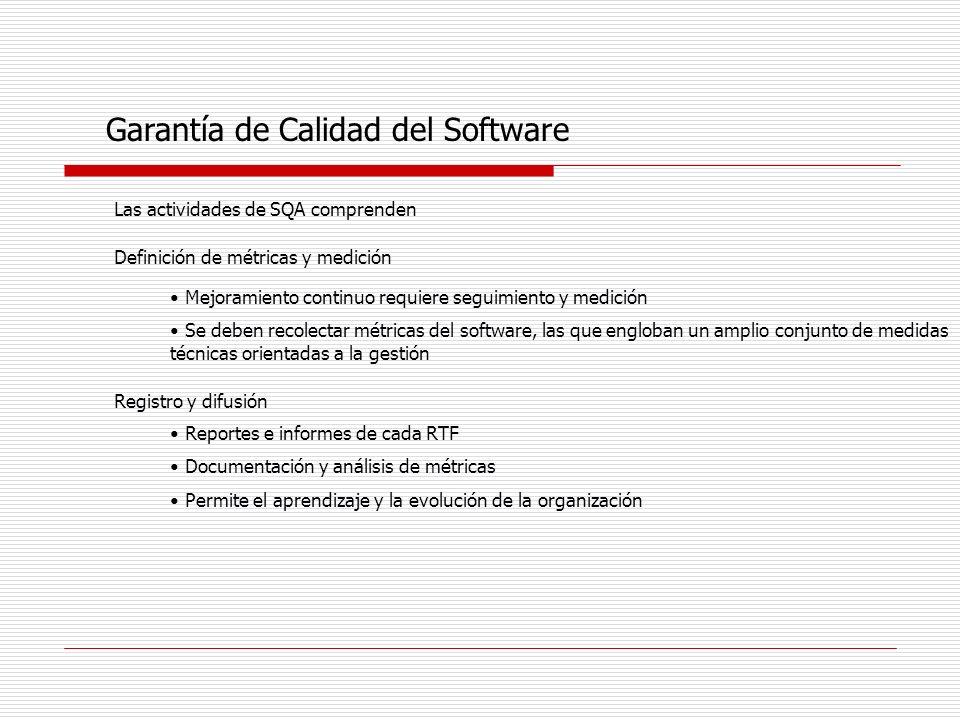 Garantía de Calidad del Software Las actividades de SQA comprenden Definición de métricas y medición Mejoramiento continuo requiere seguimiento y medi