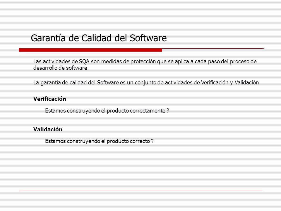 Garantía de Calidad del Software Las actividades de SQA son medidas de protección que se aplica a cada paso del proceso de desarrollo de software La g