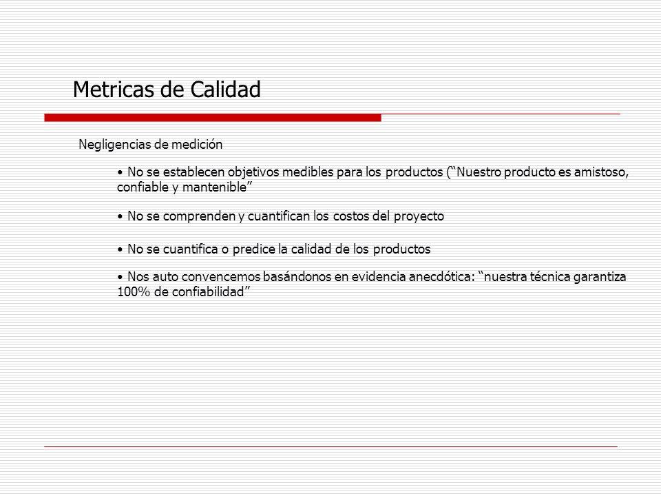 Metricas de Calidad Negligencias de medición No se establecen objetivos medibles para los productos (Nuestro producto es amistoso, confiable y manteni