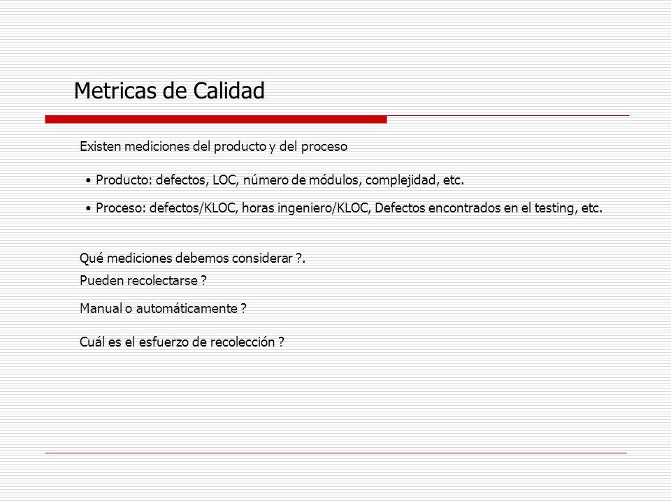 Metricas de Calidad Existen mediciones del producto y del proceso Producto: defectos, LOC, número de módulos, complejidad, etc. Proceso: defectos/KLOC