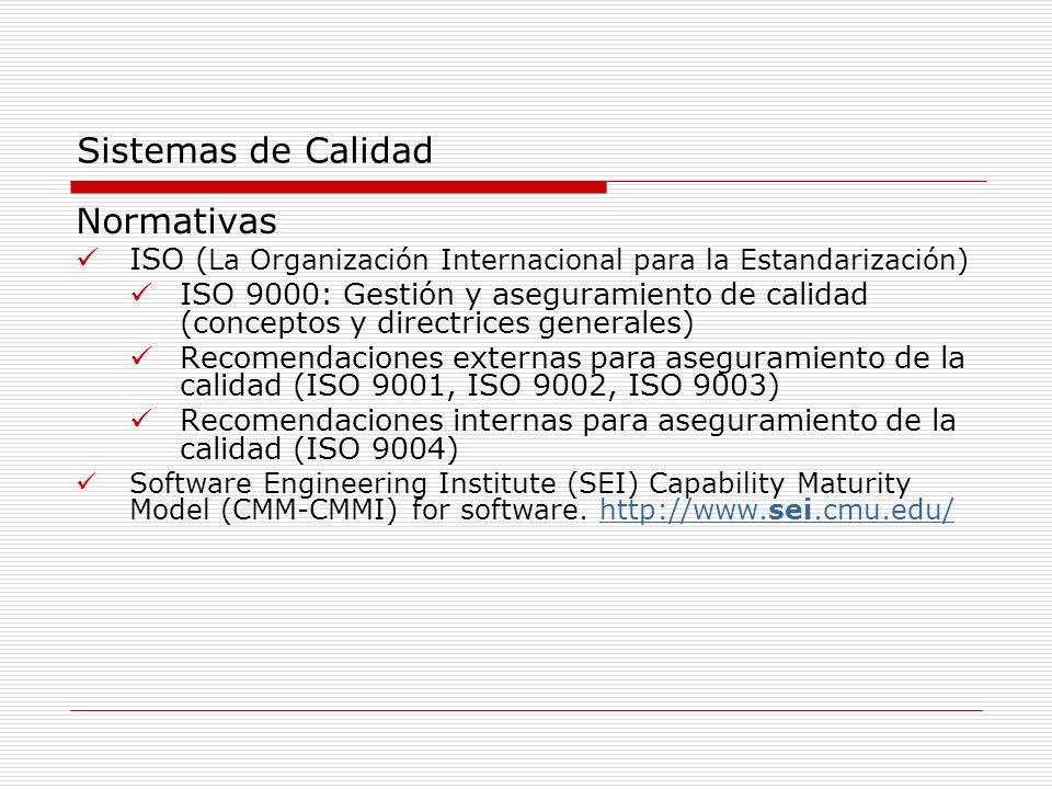 Sistemas de Calidad Normativas ISO ( La Organización Internacional para la Estandarización) ISO 9000: Gestión y aseguramiento de calidad (conceptos y