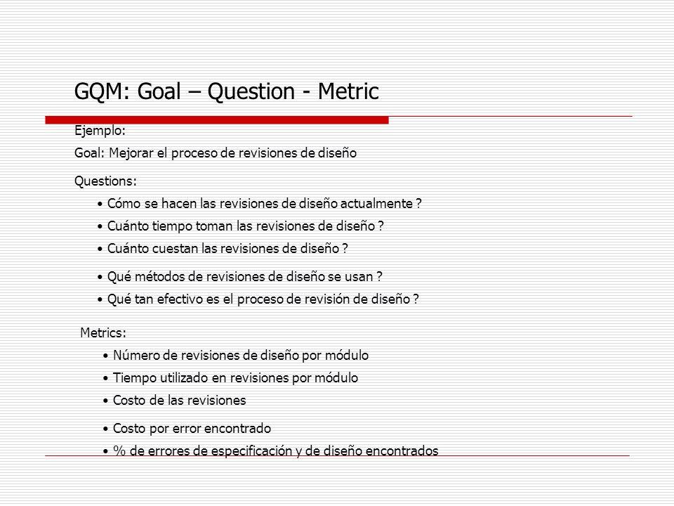 GQM: Goal – Question - Metric Ejemplo: Goal: Mejorar el proceso de revisiones de diseño Questions: Cómo se hacen las revisiones de diseño actualmente