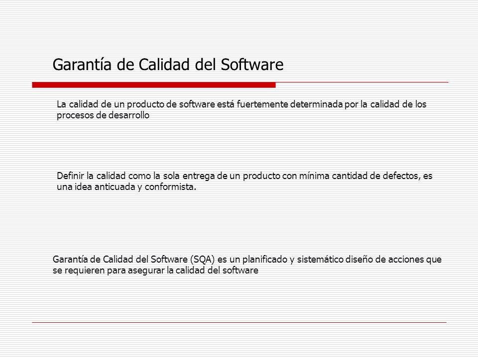 Garantía de Calidad del Software Existen diferentes Visiones respecto de la Calidad de un Producto de Software Visión del Usuario: Grado de adecuación al propósito Visión del Productor: Conformidad con la especificación Visión del Producto: Ligada a características propias de todo software