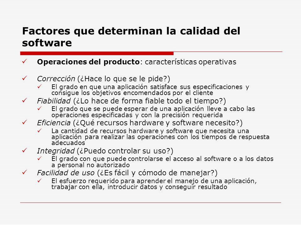 Factores que determinan la calidad del software Operaciones del producto: características operativas Corrección (¿Hace lo que se le pide?) El grado en