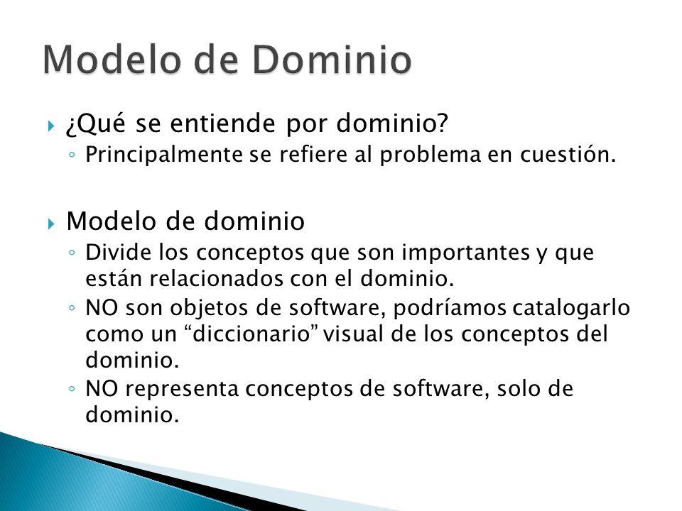 ¿Qué se entiende por dominio? Principalmente se refiere al problema en cuestión. Modelo de dominio Divide los conceptos que son importantes y que está