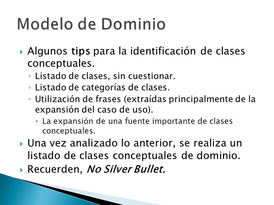 Algunos tips para la identificación de clases conceptuales. Listado de clases, sin cuestionar. Listado de categorías de clases. Utilización de frases
