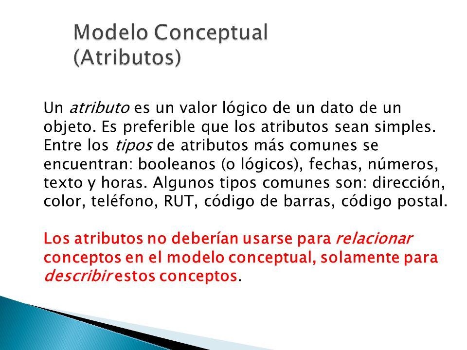 Un atributo es un valor lógico de un dato de un objeto. Es preferible que los atributos sean simples. Entre los tipos de atributos más comunes se encu