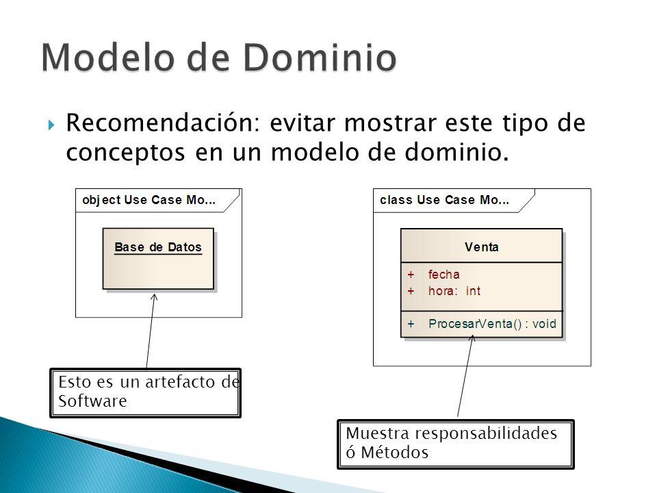Recomendación: evitar mostrar este tipo de conceptos en un modelo de dominio. Esto es un artefacto de Software Muestra responsabilidades ó Métodos
