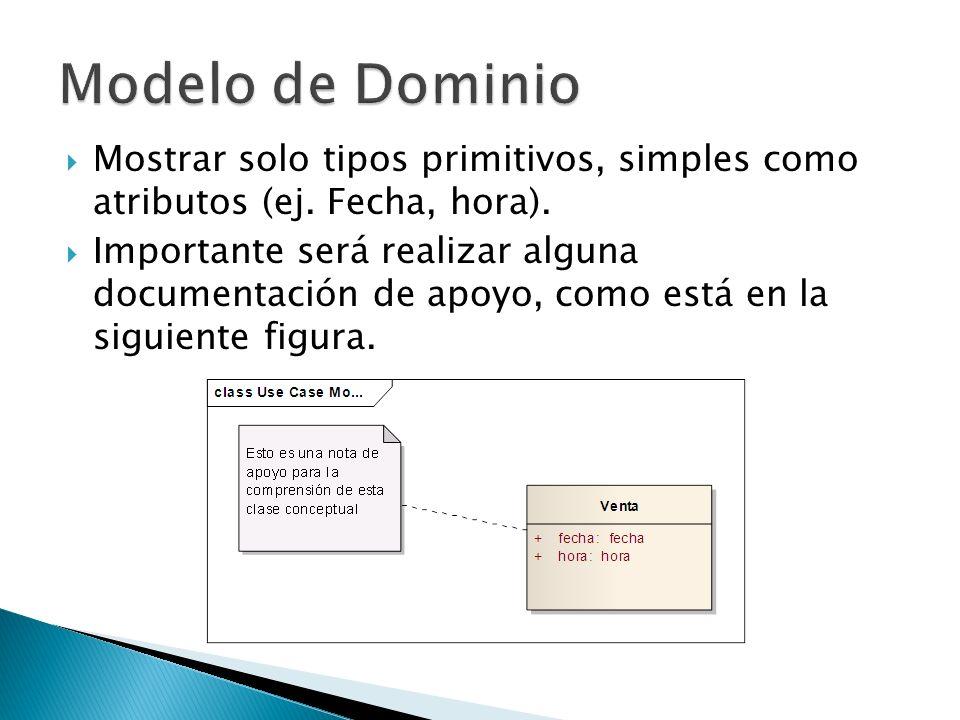 Mostrar solo tipos primitivos, simples como atributos (ej. Fecha, hora). Importante será realizar alguna documentación de apoyo, como está en la sigui