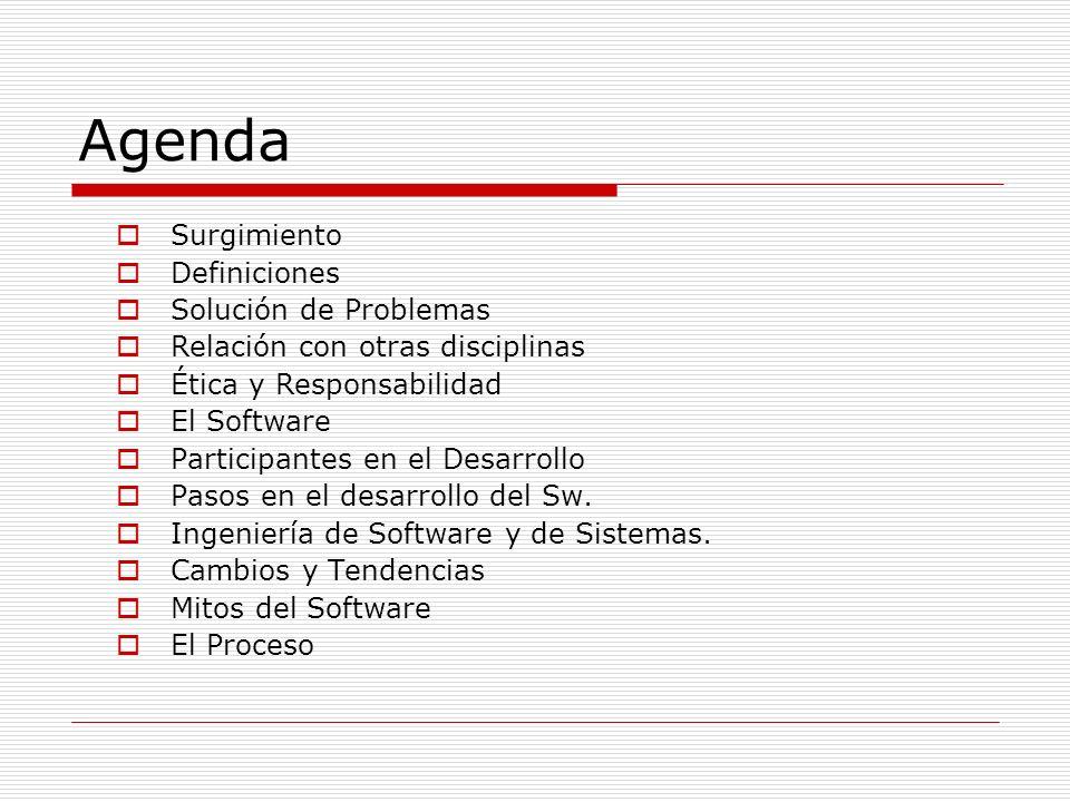 Agenda Surgimiento Definiciones Solución de Problemas Relación con otras disciplinas Ética y Responsabilidad El Software Participantes en el Desarroll