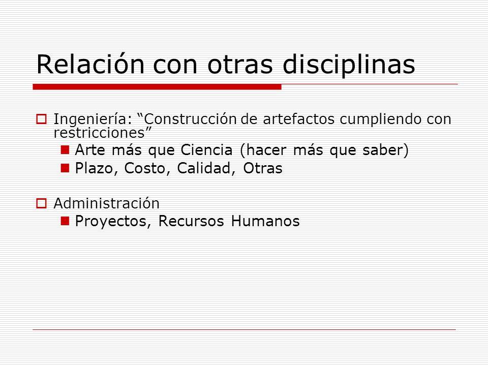Relación con otras disciplinas Ingeniería: Construcción de artefactos cumpliendo con restricciones Arte más que Ciencia (hacer más que saber) Plazo, C