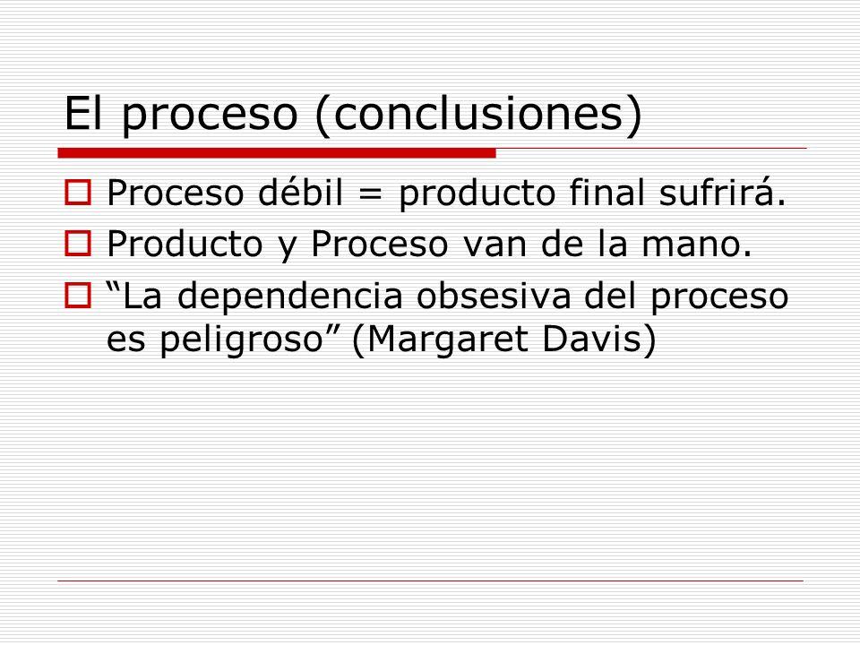 El proceso (conclusiones) Proceso débil = producto final sufrirá. Producto y Proceso van de la mano. La dependencia obsesiva del proceso es peligroso
