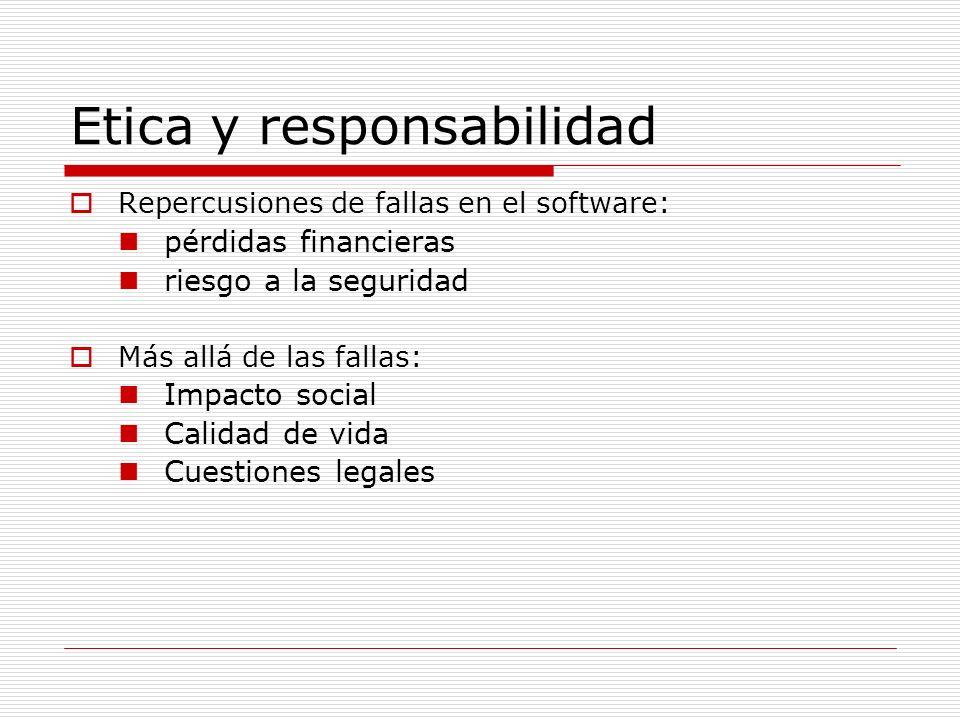 Etica y responsabilidad Repercusiones de fallas en el software: pérdidas financieras riesgo a la seguridad Más allá de las fallas: Impacto social Cali