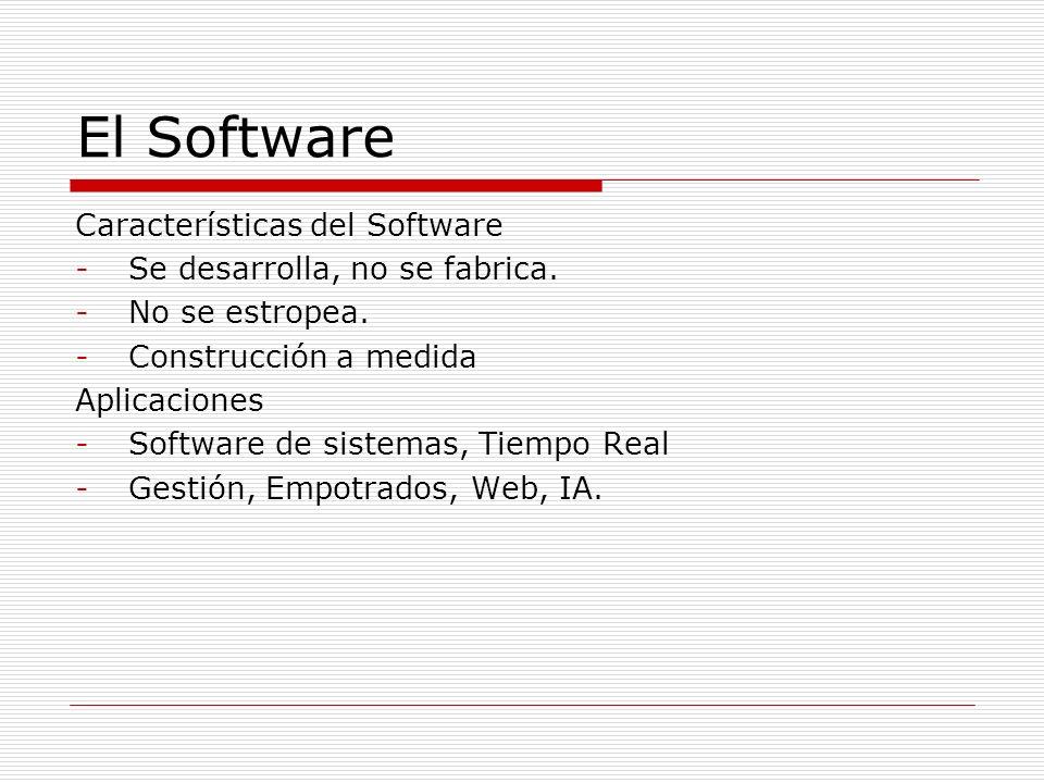 El Software Características del Software -Se desarrolla, no se fabrica. -No se estropea. -Construcción a medida Aplicaciones -Software de sistemas, Ti