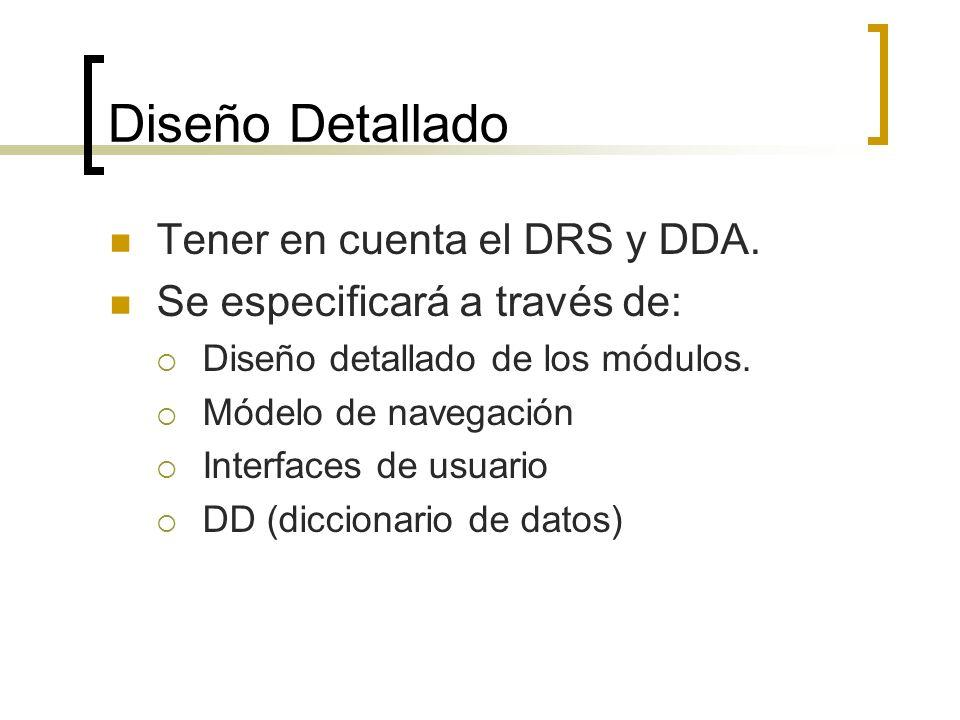 Diseño Detallado Tener en cuenta el DRS y DDA. Se especificará a través de: Diseño detallado de los módulos. Módelo de navegación Interfaces de usuari