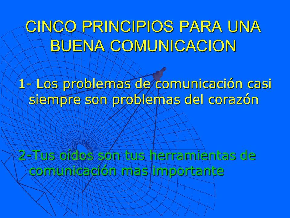 CINCO PRINCIPIOS PARA UNA BUENA COMUNICACION 1- Los problemas de comunicación casi siempre son problemas del corazón 2-Tus oídos son tus herramientas