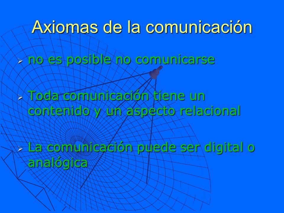 Axiomas de la comunicación no es posible no comunicarse no es posible no comunicarse Toda comunicación tiene un contenido y un aspecto relacional Toda