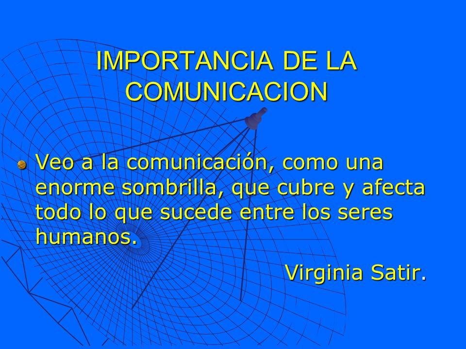 IMPORTANCIA DE LA COMUNICACION Veo a la comunicación, como una enorme sombrilla, que cubre y afecta todo lo que sucede entre los seres humanos. Virgin