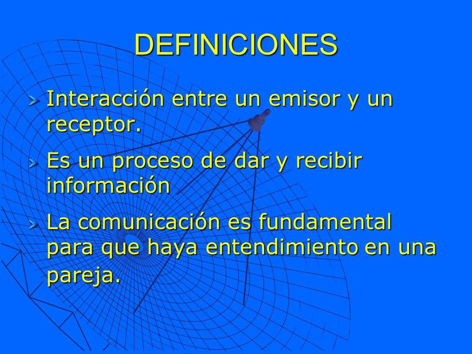 DEFINICIONES Interacción entre un emisor y un receptor. Es un proceso de dar y recibir información La comunicación es fundamental para que haya entend