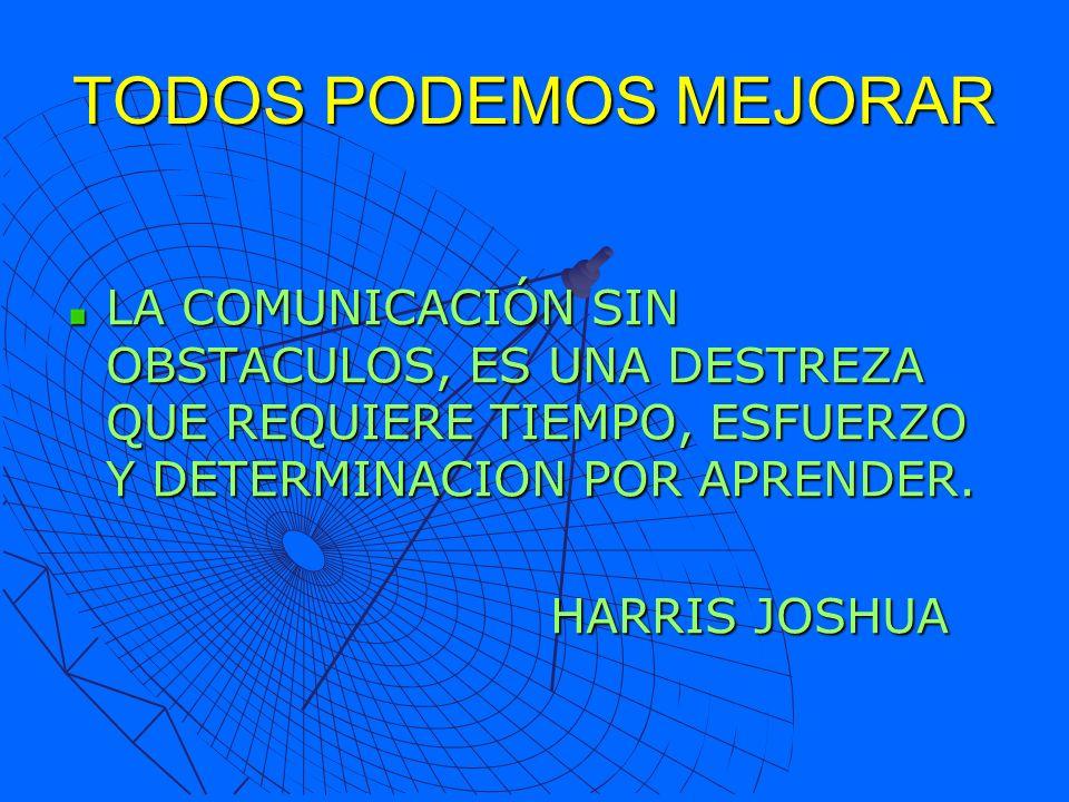 TODOS PODEMOS MEJORAR LA COMUNICACIÓN SIN OBSTACULOS, ES UNA DESTREZA QUE REQUIERE TIEMPO, ESFUERZO Y DETERMINACION POR APRENDER. HARRIS JOSHUA HARRIS