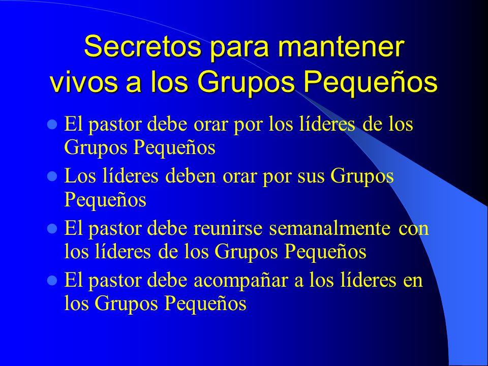 Secretos para mantener vivos a los Grupos Pequeños El pastor debe orar por los líderes de los Grupos Pequeños Los líderes deben orar por sus Grupos Pe