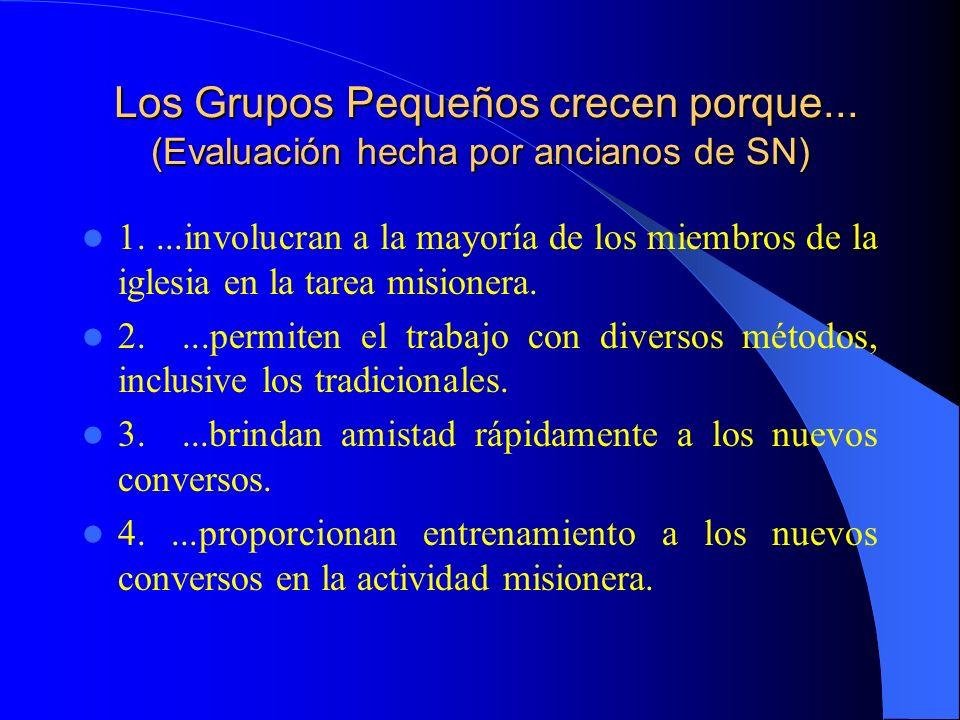 Los Grupos Pequeños crecen porque... (Evaluación hecha por ancianos de SN) Los Grupos Pequeños crecen porque... (Evaluación hecha por ancianos de SN)