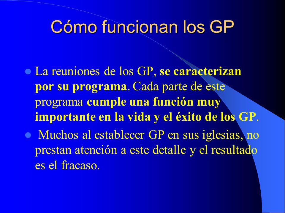 Cómo funcionan los GP La reuniones de los GP, se caracterizan por su programa. Cada parte de este programa cumple una función muy importante en la vid