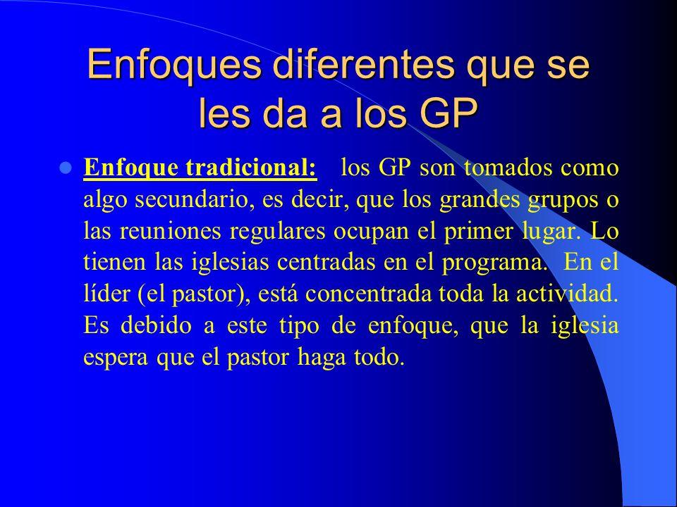 Enfoques diferentes que se les da a los GP Enfoque tradicional: los GP son tomados como algo secundario, es decir, que los grandes grupos o las reunio