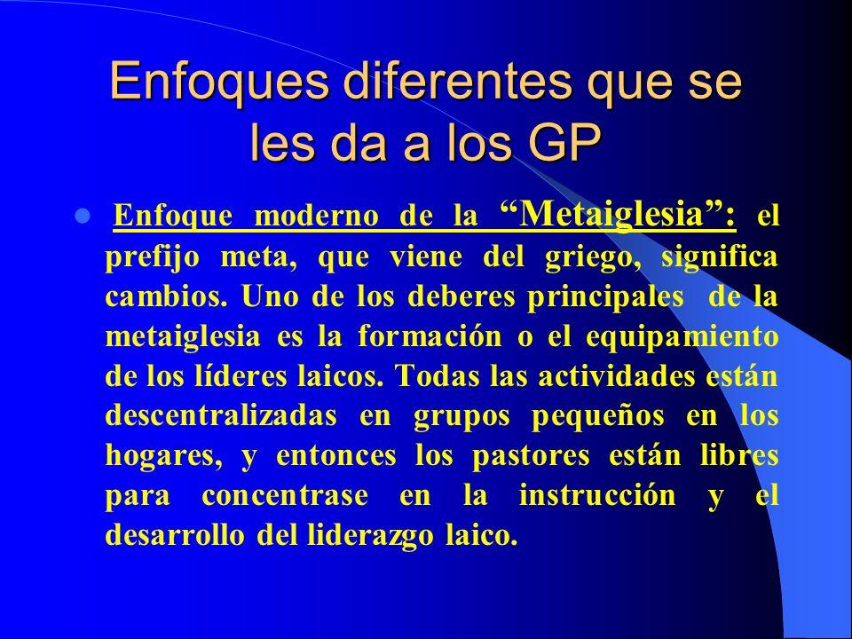 Enfoques diferentes que se les da a los GP Enfoque moderno de la Metaiglesia: el prefijo meta, que viene del griego, significa cambios. Uno de los deb
