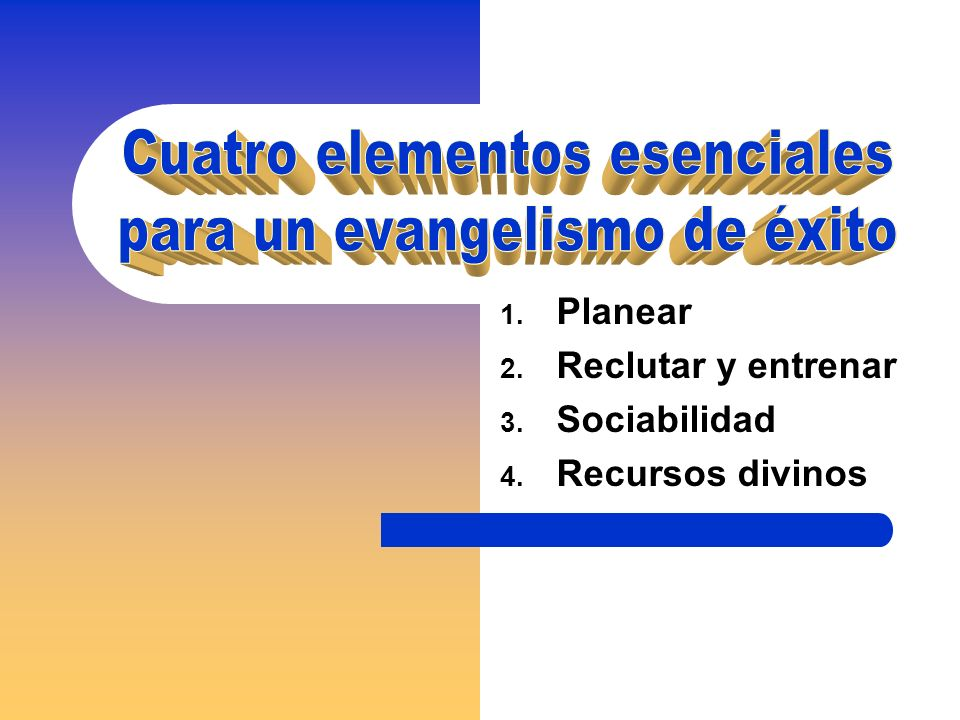 1. Planear 2. Reclutar y entrenar 3. Sociabilidad 4. Recursos divinos