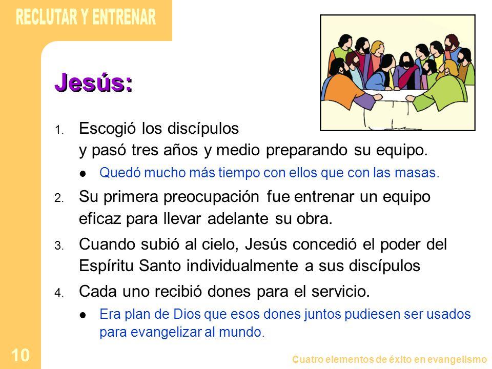 Cuatro elementos de éxito en evangelismo 10 Jesús: 1. Escogió los discípulos y pasó tres años y medio preparando su equipo. Quedó mucho más tiempo con