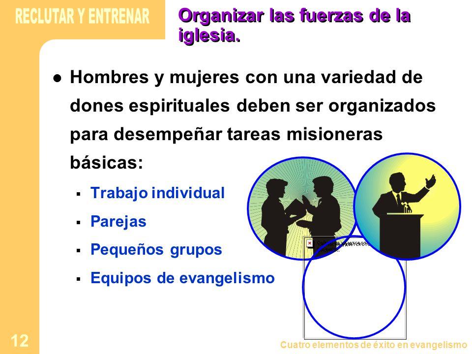Cuatro elementos de éxito en evangelismo 12 Organizar las fuerzas de la iglesia. Hombres y mujeres con una variedad de dones espirituales deben ser or