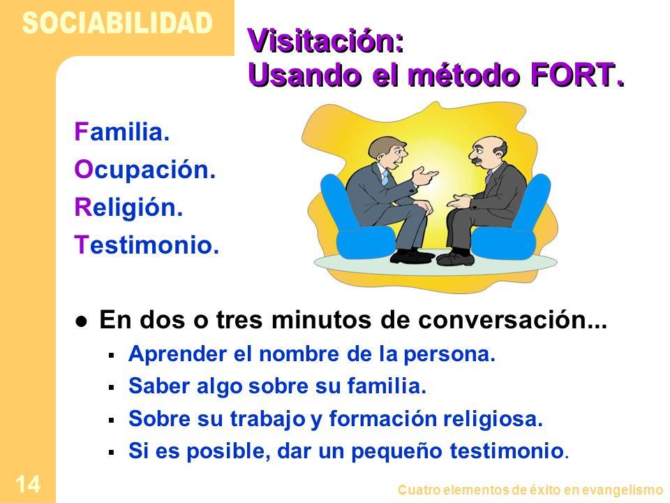 Cuatro elementos de éxito en evangelismo 14 Visitación: Usando el método FORT. Familia. Ocupación. Religión. Testimonio. En dos o tres minutos de conv