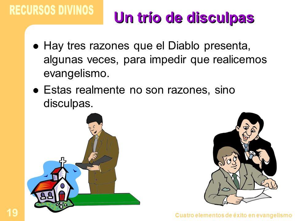 Cuatro elementos de éxito en evangelismo 19 Un trío de disculpas Hay tres razones que el Diablo presenta, algunas veces, para impedir que realicemos e