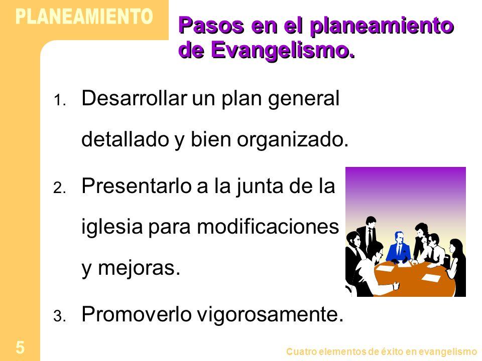 Cuatro elementos de éxito en evangelismo 5 Pasos en el planeamiento de Evangelismo. 1. Desarrollar un plan general detallado y bien organizado. 2. Pre