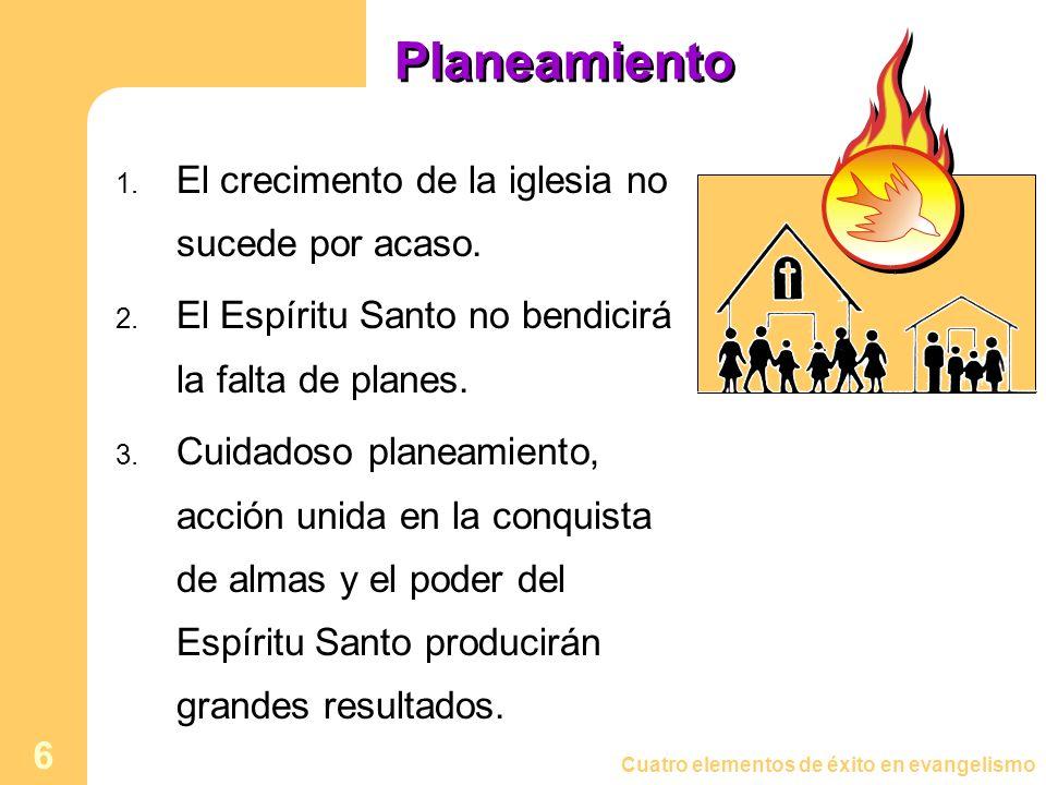 Cuatro elementos de éxito en evangelismo 6 Planeamiento 1. El crecimento de la iglesia no sucede por acaso. 2. El Espíritu Santo no bendicirá la falta