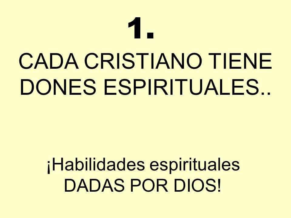 CADA CRISTIANO TIENE DONES ESPIRITUALES.. ¡Habilidades espirituales DADAS POR DIOS! 1.