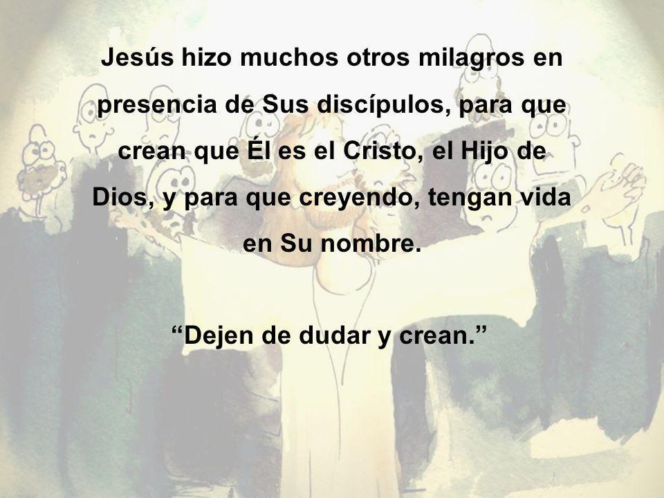 Jesús hizo muchos otros milagros en presencia de Sus discípulos, para que crean que Él es el Cristo, el Hijo de Dios, y para que creyendo, tengan vida