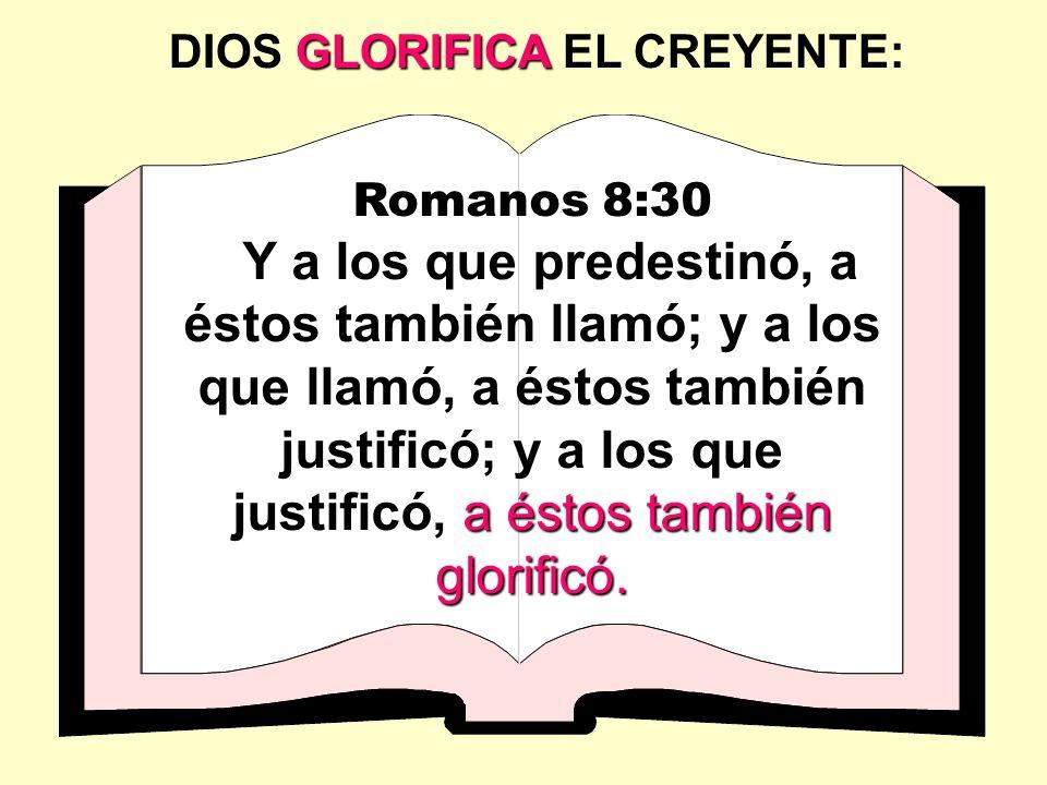 Romanos 8:30 a éstos también glorificó. Y a los que predestinó, a éstos también llamó; y a los que llamó, a éstos también justificó; y a los que justi