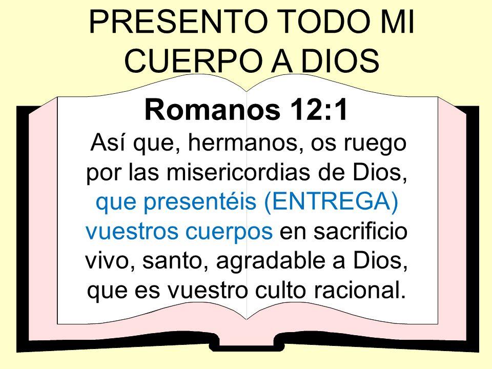 Romanos 12:1 Así que, hermanos, os ruego por las misericordias de Dios, que presentéis (ENTREGA) vuestros cuerpos en sacrificio vivo, santo, agradable