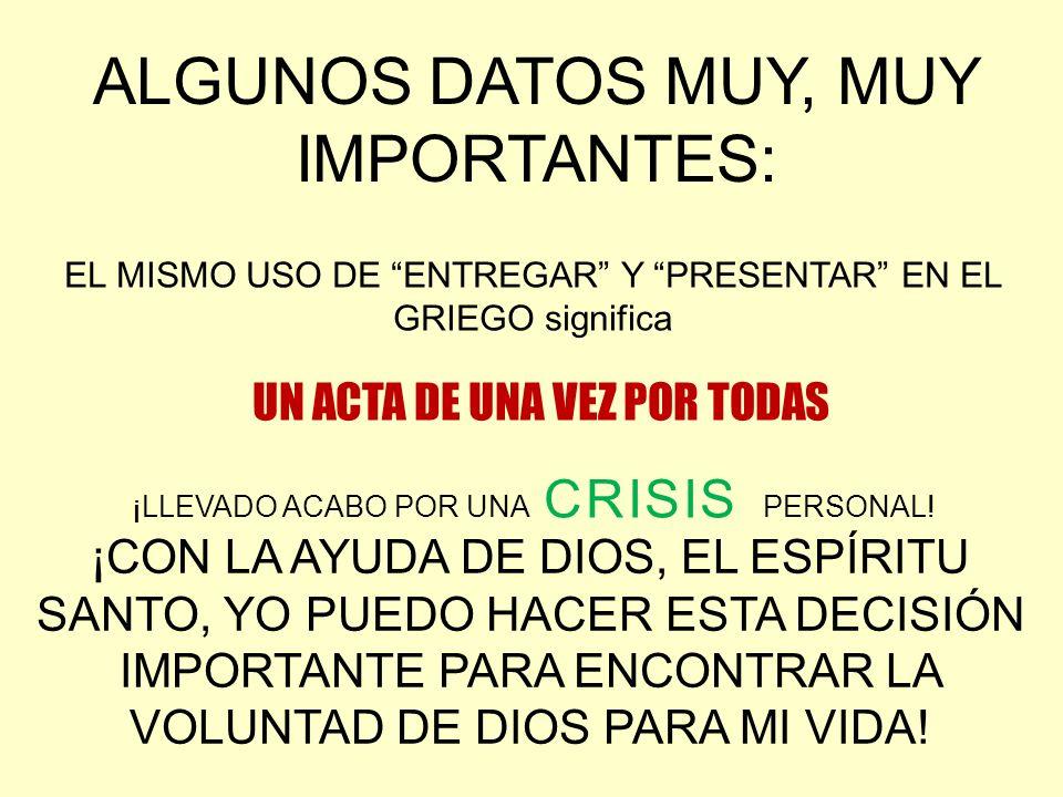 EL MISMO USO DE ENTREGAR Y PRESENTAR EN EL GRIEGO significa UN ACTA DE UNA VEZ POR TODAS ¡LLEVADO ACABO POR UNA CRISIS PERSONAL! ALGUNOS DATOS MUY, MU