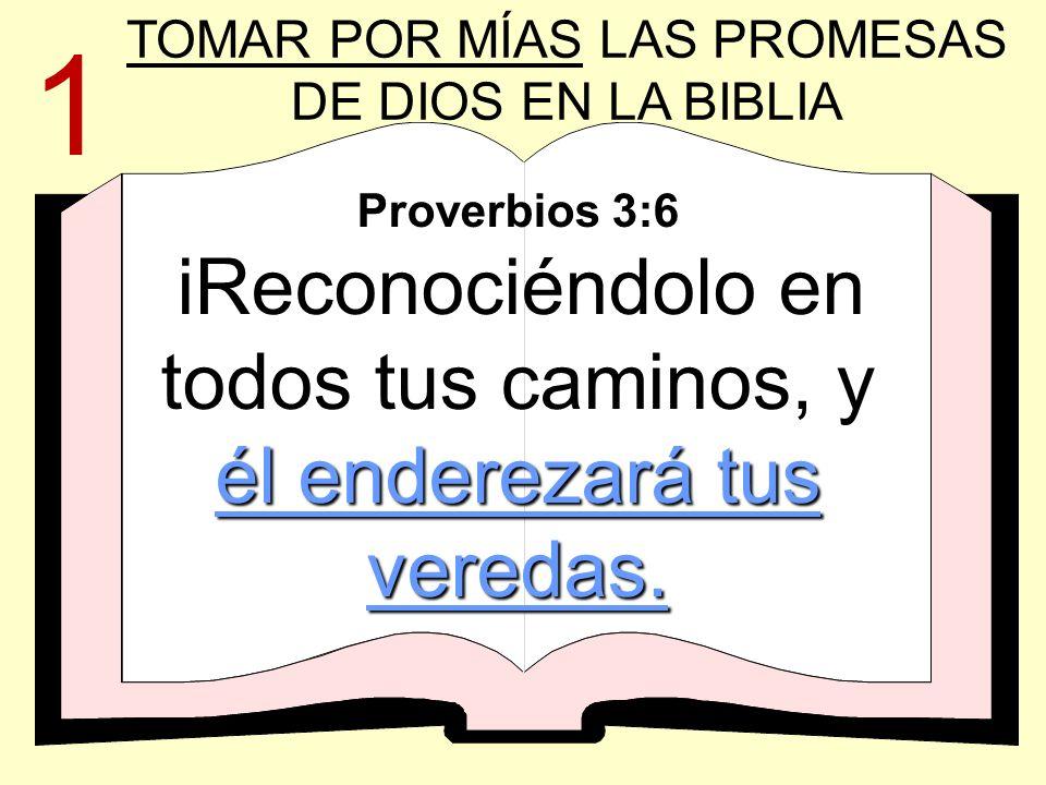 él enderezará tus veredas. Proverbios 3:6 iReconociéndolo en todos tus caminos, y él enderezará tus veredas. TOMAR POR MÍAS LAS PROMESAS DE DIOS EN LA