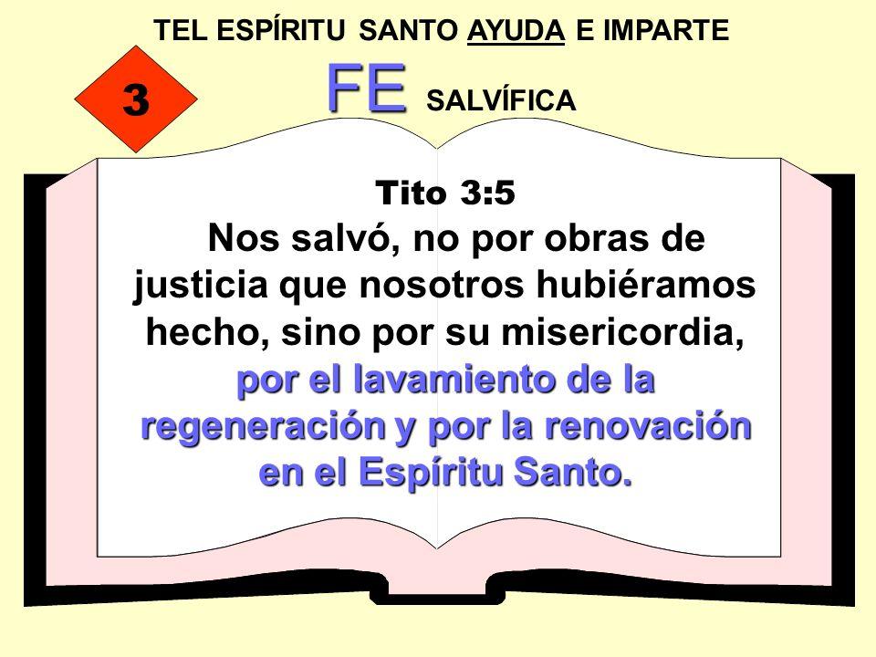 TEL ESPÍRITU SANTO AYUDA E IMPARTE FE FE SALVÍFICA Tito 3:5 por el lavamiento de la regeneración y por la renovación en el Espíritu Santo. Nos salvó,